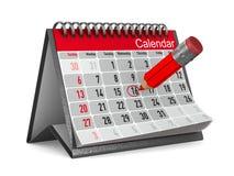 Calendario con la data celebre su fondo bianco Illust isolato 3d Immagine Stock Libera da Diritti