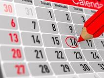 Calendario con la data celebre su fondo bianco Illust isolato 3d illustrazione di stock