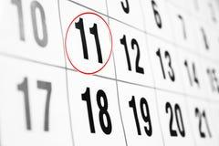 Calendario con la fecha circundada en rojo Foto de archivo libre de regalías