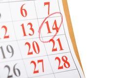 Calendario con la fecha de la tarjeta del día de San Valentín del St Fotografía de archivo