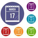 Calendario con la fecha de los iconos del 17 de marzo fijados Fotografía de archivo libre de regalías