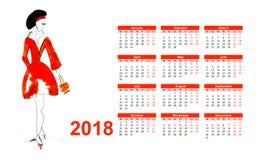Calendario 2018 con la giovane donna Immagini Stock Libere da Diritti
