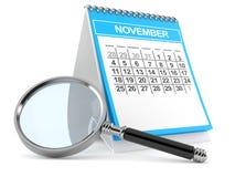 Calendario con la lente d'ingrandimento Immagine Stock Libera da Diritti