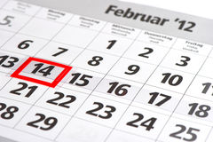 Calendario con la marca roja el 14 de febrero Imagen de archivo
