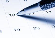 Calendario con la penna Fotografia Stock Libera da Diritti