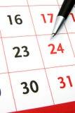 Calendario con la pluma Fotografía de archivo