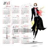 Calendario con la ragazza di modo Fotografia Stock