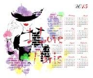 Calendario con la ragazza di modo Immagine Stock