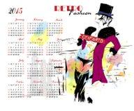 Calendario con la ragazza di modo Fotografie Stock Libere da Diritti