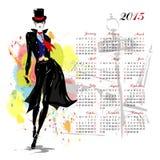 Calendario con la ragazza di modo Immagine Stock Libera da Diritti