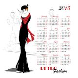 Calendario con la ragazza di modo Fotografie Stock