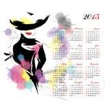Calendario con la ragazza di modo Immagini Stock Libere da Diritti