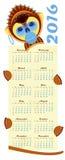 calendario 2016 con la scimmia dell'immagine - simbolo dell'anno royalty illustrazione gratis