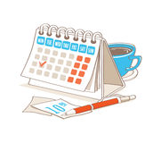 Calendario con la tazza di caffè Fotografia Stock