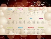 calendario 2014 con las burbujas y los círculos Imagen de archivo