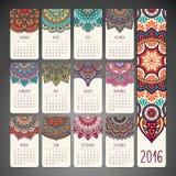Calendario con las mandalas Imágenes de archivo libres de regalías