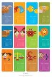 Calendario con las muestras del zodiaco Fotos de archivo