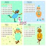 calendario 2015 con las ovejas divertidas Invierno, primavera ilustración del vector