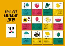 Calendario 2019 con le illustrazioni divertenti Royalty Illustrazione gratis