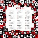 calendario 2016 con le lettere illustrazione vettoriale