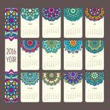 Calendario 2016 con le mandale illustrazione di stock