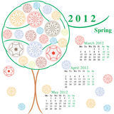 Calendario con los árboles ornamentales Foto de archivo
