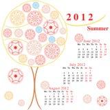 Calendario con los árboles ornamentales Imagen de archivo