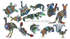 Calendario con los animales coloridos australianos stock de ilustración