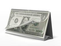 Calendario con los billetes de dólar imagen de archivo libre de regalías