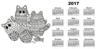 calendario 2017 con los gatos stock de ilustración