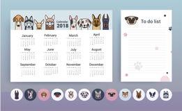 Calendario con los perros Plantilla del planificador ilustración del vector