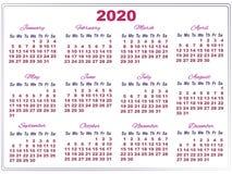 Calendario Agosto 2019 Numeros Grandes.Calendario 2020 Con Numeros Grandes Stock De Ilustracion