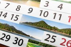 Calendario con paisaje hermoso Fotos de archivo