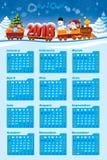 Calendario 2018 con Santa Claus stock de ilustración