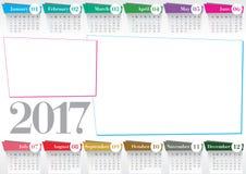 Calendario 2017 con 2 strutture della foto Fotografie Stock