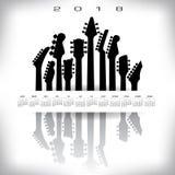 Calendario 2018 con un'insegna di musical di spazio Illustrazione Vettoriale