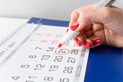 Calendario con una data dedicata il 21 luglio Fotografia Stock