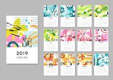 Calendario 2019 Condisce il collage, pianificatore stampabile creativo moderno della pittura astratta Organizzatore di vettore co illustrazione di stock