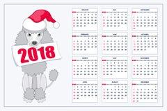 Calendario creativo con el perro de juguete exhausto por el año 2018 de la pared Foto de archivo