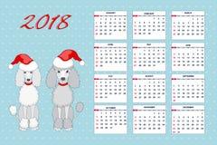 Calendario creativo con el perro de juguete exhausto por el año 2018 de la pared Imagenes de archivo