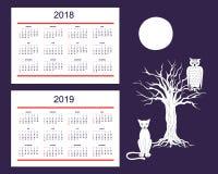 Calendario creativo con gli animali tirati di notte per l'anno 2018, 2 della parete illustrazione di stock