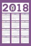 Calendario creativo con il cane di piccola taglia tirato per l'anno 2018 della parete illustrazione di stock