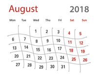 calendario creativo de agosto de la rejilla original divertida 2018 Fotografía de archivo libre de regalías