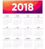 Calendario creativo de 2018 diseños en fondo moderno Oriantation del retrato Plantilla del diseño del vector con el jefe abstract ilustración del vector