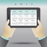 calendario creativo della compressa del computer 2017 Immagini Stock