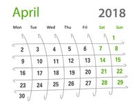 calendario creativo di aprile di griglia originale divertente 2018 Fotografia Stock