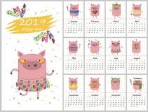 Calendario creativo mensile 2019 con il maiale sveglio Simbolo dell'anno royalty illustrazione gratis