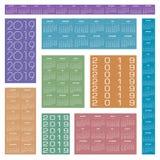 Calendario creativo 2019 nei colori multipli illustrazione vettoriale