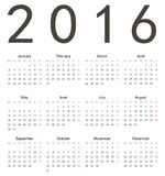 Calendario cuadrado europeo simple 2016 Imágenes de archivo libres de regalías