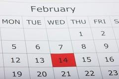 Calendario día de fiesta día del ` s de la tarjeta del día de San Valentín del 14 de febrero Imagen de archivo